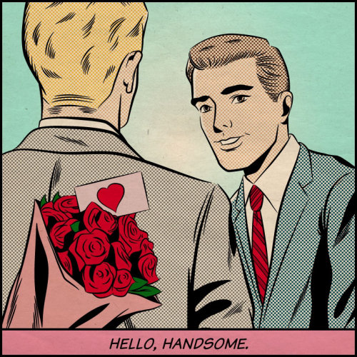 Illustration of men's conversation
