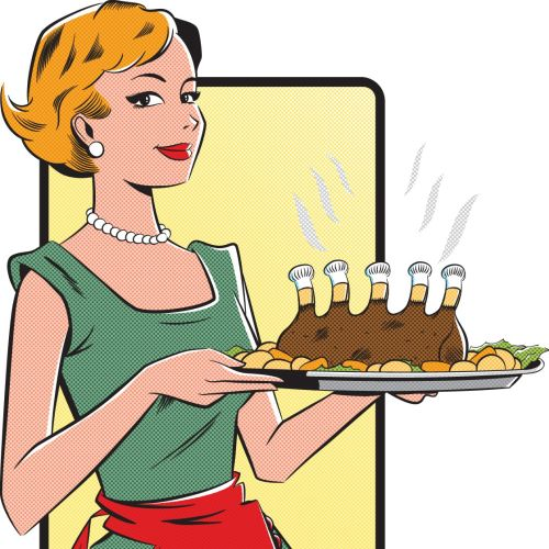 Serving waitress label illustration
