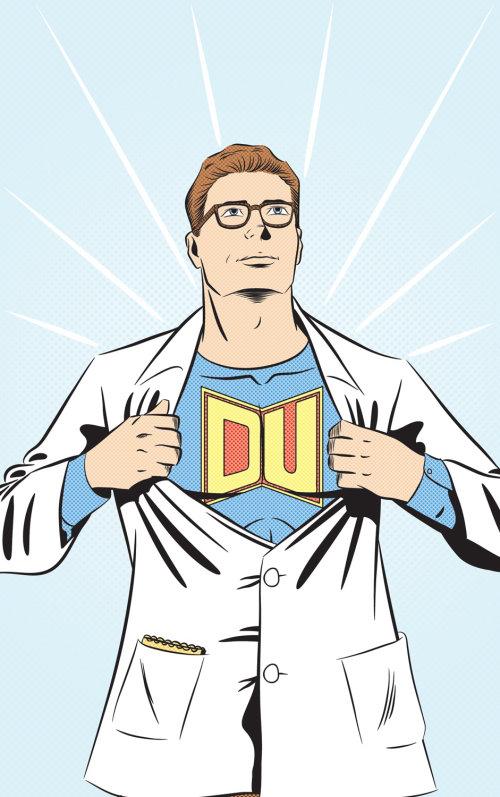 Cartoon character of superhero removing coat