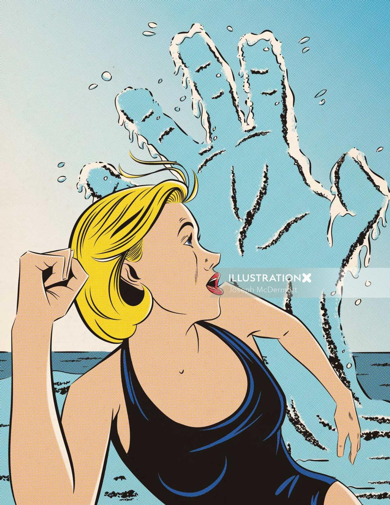 Swimming woman chased by scary had tides illustration