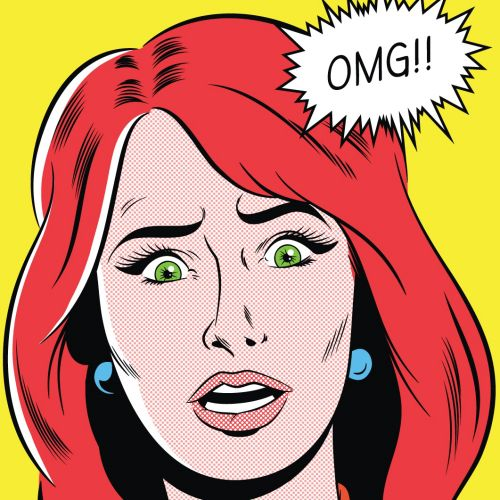 Retro artwork of woman with OMG expression