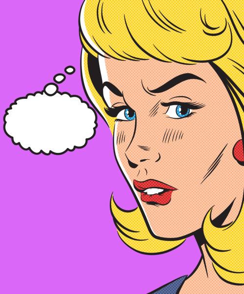 Comic illustration of women thinking