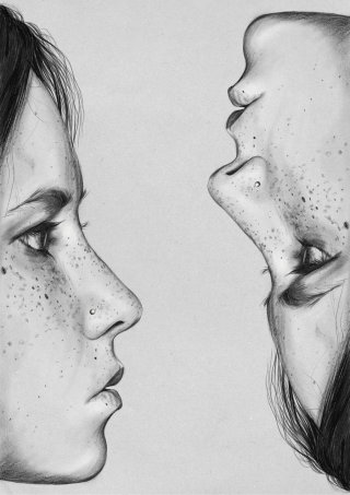 Two faces illustration by Judith Van Den Hoek