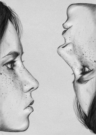 Two faces illustration by Judith Van Den Hoek
