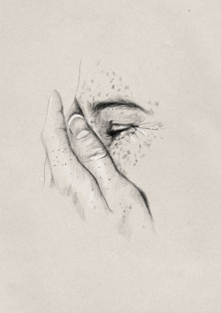 Pencil drawing of woman with freckles