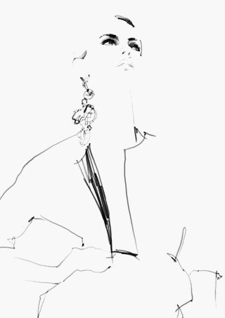 Line drawing of fashion lady