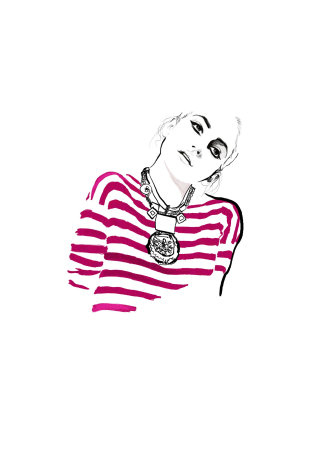 Lady In Pink Striped Shirt, fashion illustration