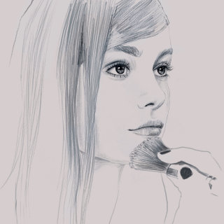 Pencil sketch of beautiful girl applying makeup