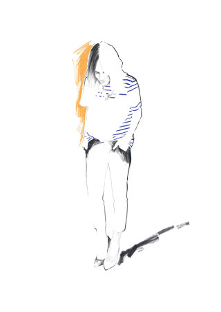 Woman in striped shirt illustration by Judith Van Den Hoek