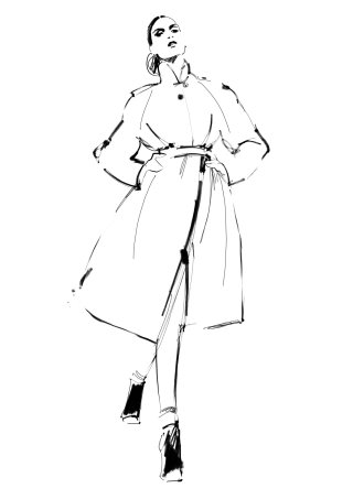 Woman in coat illustration by Judith Van Den Hoek