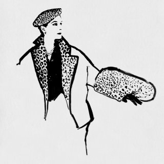 Fashion drawing of woman in leopard coat