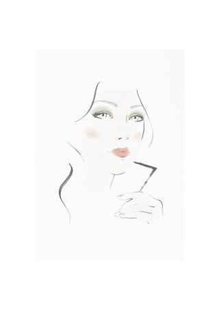 Burberry face chart illustration by Judith Van Den Hoek
