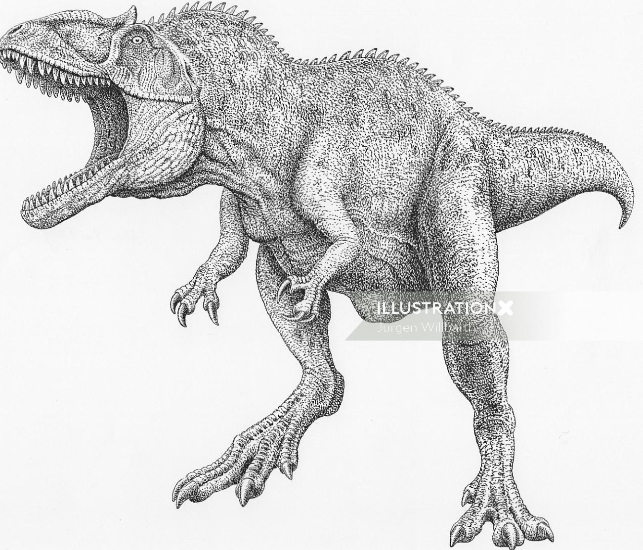 Dinosaur black and white artwork