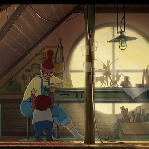 Digital Art of Mother and Son in golden lit attic in suburban home.