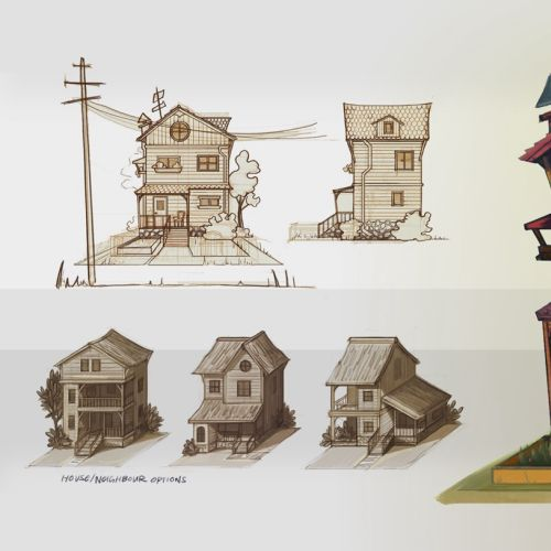 Digital painting of wooden house