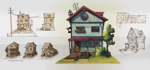 木制房屋的数字绘画