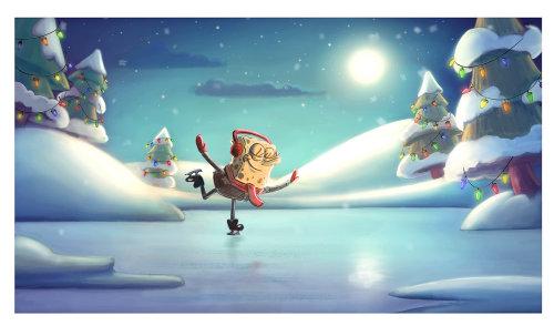 海绵鲍勃广场裤子冬季在冰上滑冰
