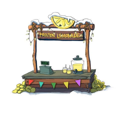 冷冻柠檬水摊位的数字绘画