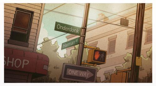 布鲁克林城市街道数字油画