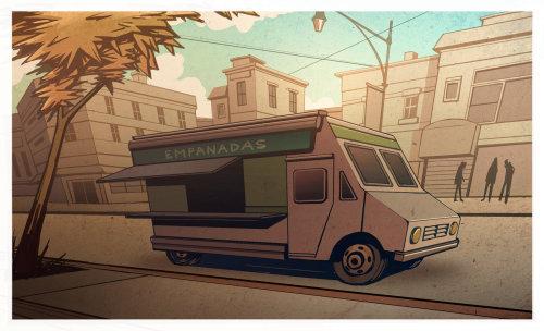 食物卡车的当代