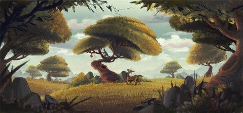 在自然界中玩耍的男孩和鹿的插图