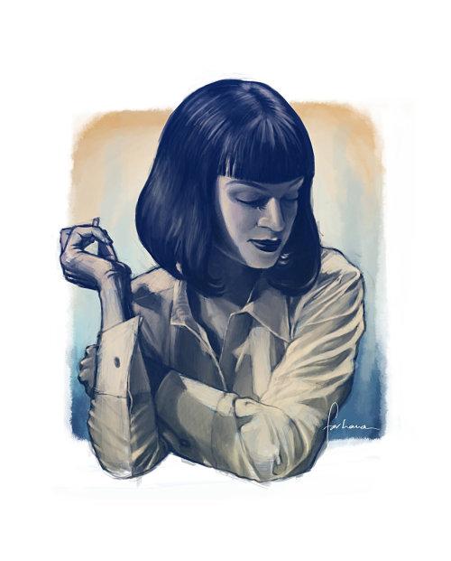 Portrait painting of Uma Thurman