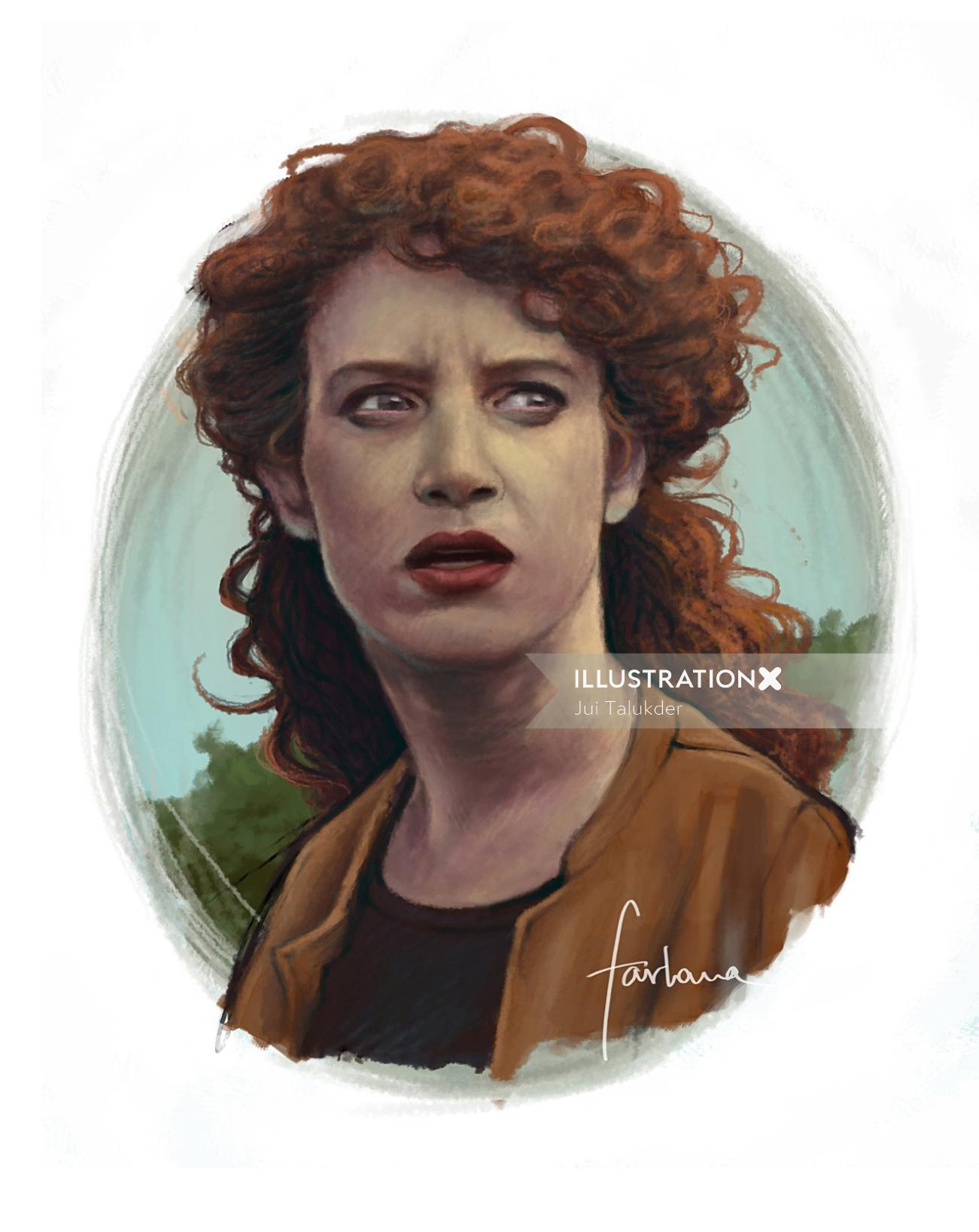 Portrait Of Woman With Curly Hairs