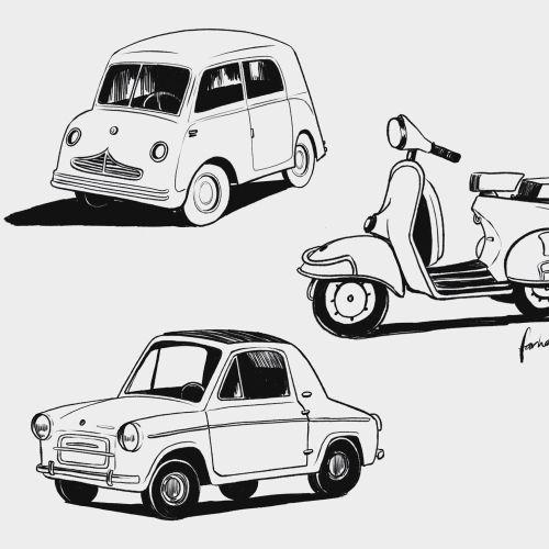Line illustration of Cars and Bike
