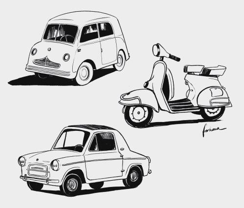 汽车和自行车的线条插图