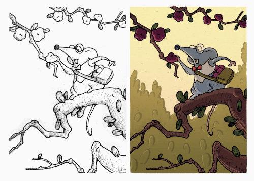 老鼠爬树的插图