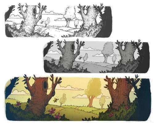 风景和树木的线条艺术