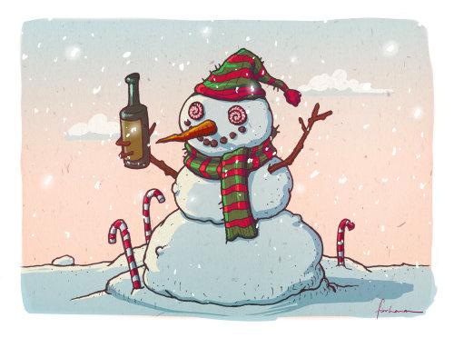 圣诞雪人与瓶的插图