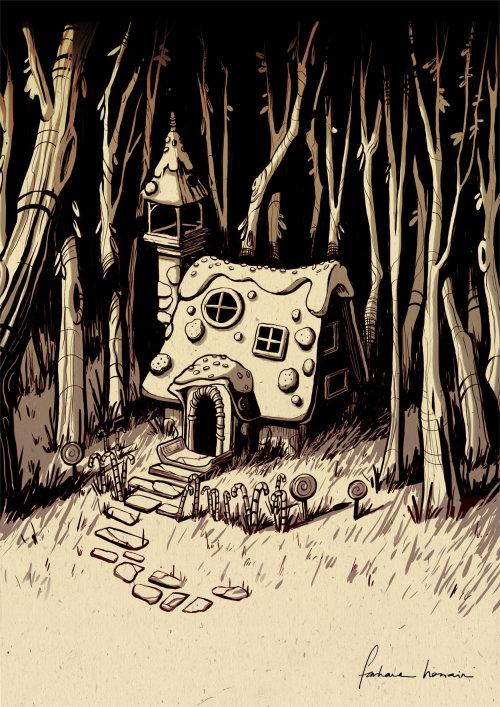 房子在树林里的铅笔素描