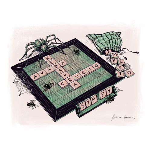 拼字游戏板上的蜘蛛的插图