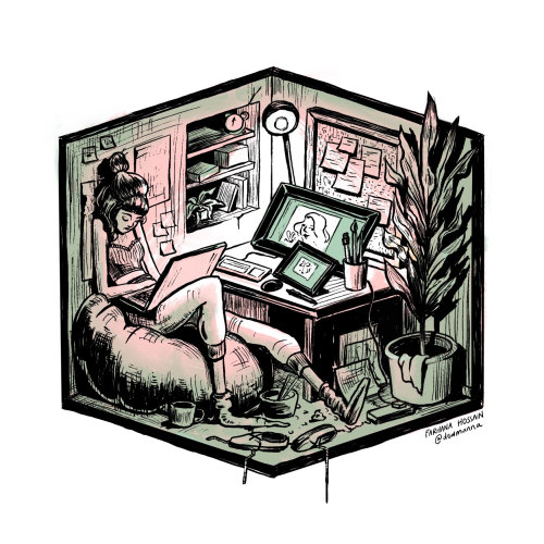 在笔记本电脑上工作的女孩的绘图