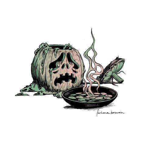南瓜惊恐地看着他的种子被烤了