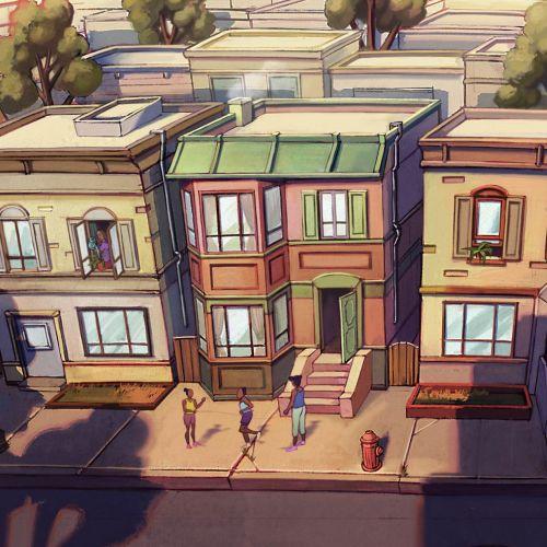 Architecture street scene illustration by Jui Talukder