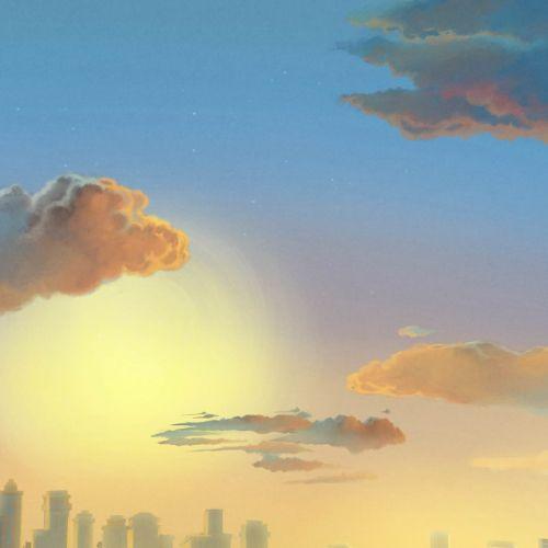 oil pastel painting of Morning Sunrise