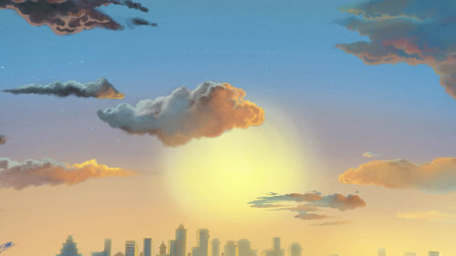 清晨日出油画