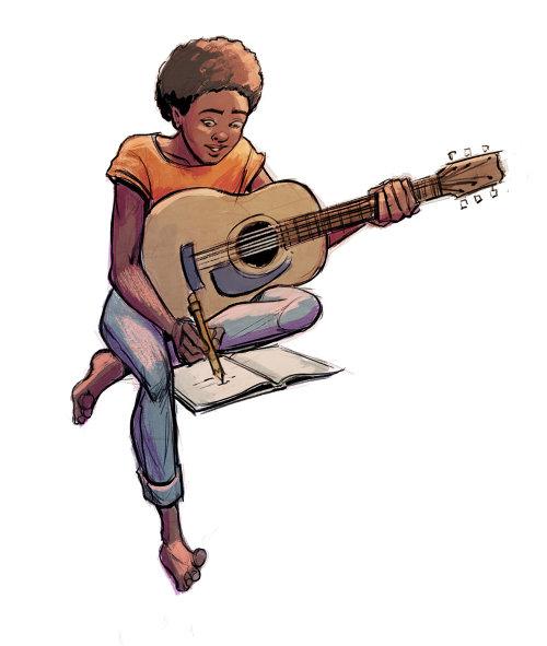 学吉他的人角色设计