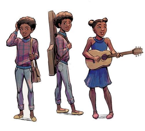 卡通男人和女人用乐器