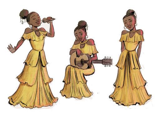 一个女孩弹吉他和唱歌的抽象插图