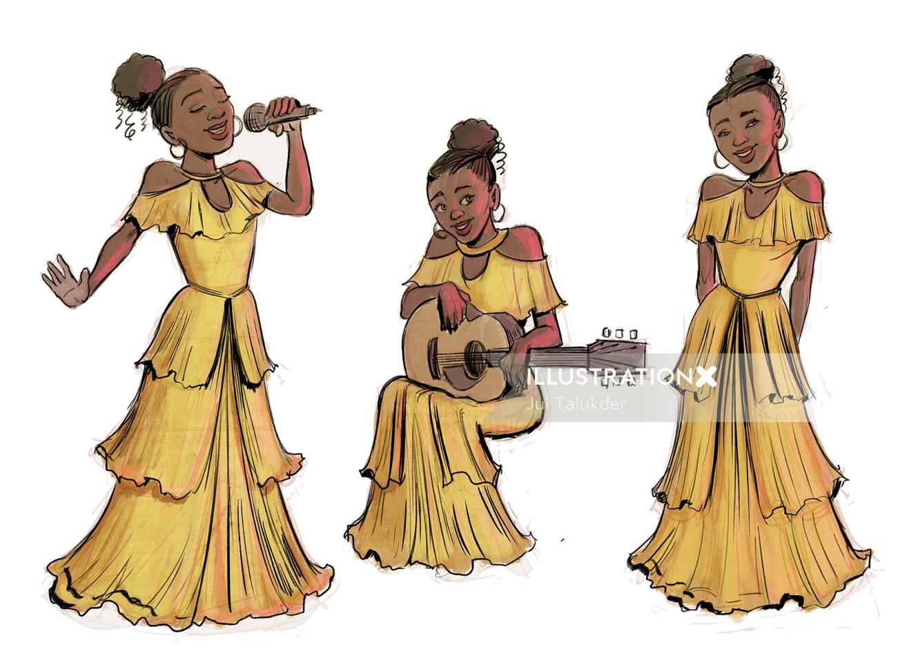Abstract illustration of a girl playing Guitar and singing