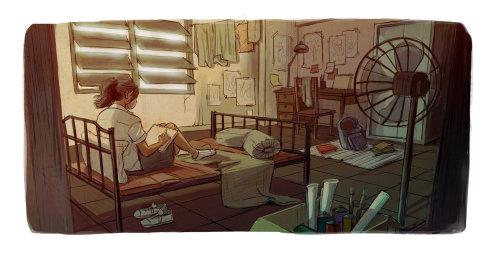 一个女孩看书的数字绘画