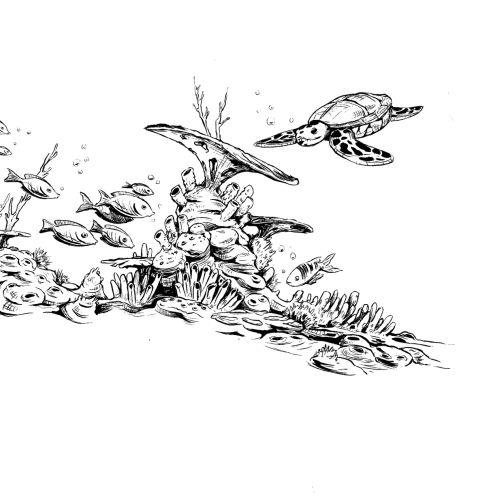 Black and white illustration of Sea life