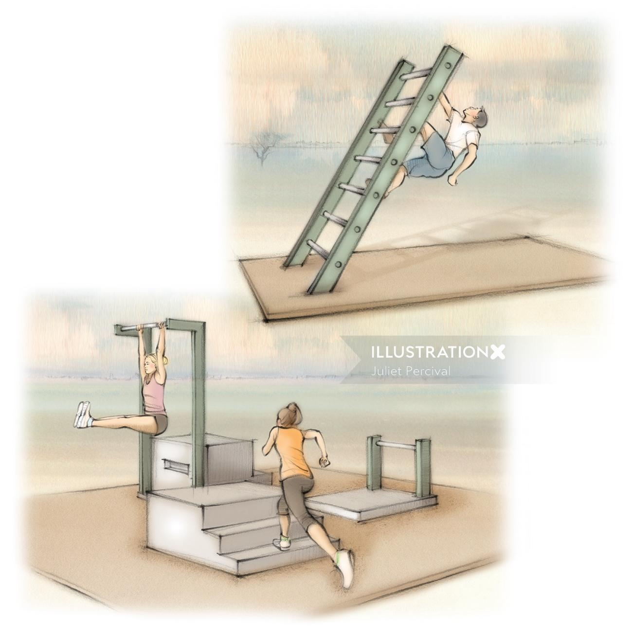ladder, exercise, climb, run, steps, outdoors, exercise stations, trails, fitness, workout