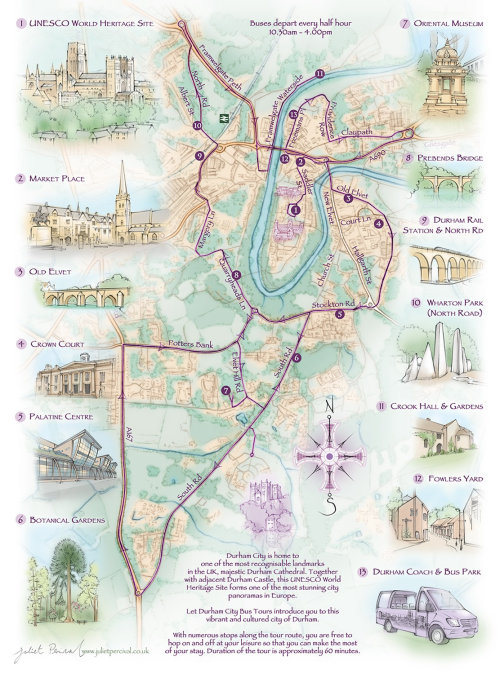 iDurham city, tourist bus, driving route,