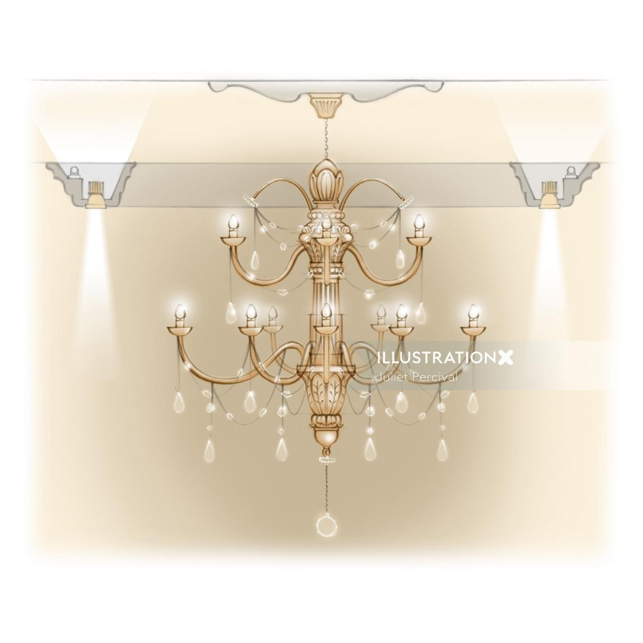 Chandelier, crystals, teardrops, illumination, product design, lighting