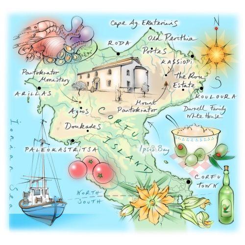 Corfu Island, ionian Sea, hand drawn, Paleokastritsa, seafood, fishing boat