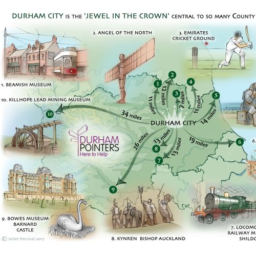 County Durham, tourist attractions, Beamish, Kynren, Bowes Museum, Seaham, Penshaw monument
